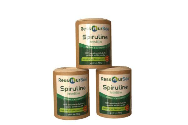Pack de trois boîtes de brindilles spiruline de Normandie RessourSée